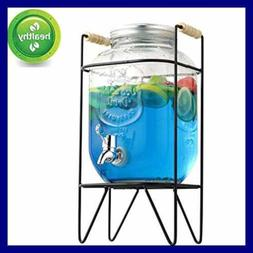 1 Gal Beverage Dispenser Glass Mason Jar Drink Water W Stand