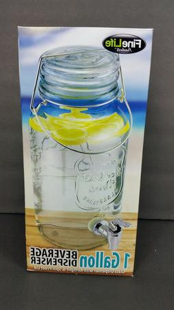 1 Gallon Glass Beverage Dispenser Drink Juice Pitcher Water