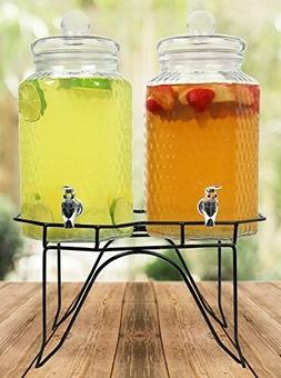 1 Gallon Hammered Glass Beverage Drink Water Ice Tea Dispens