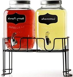 Circleware 92006 Double Chalkboard Beverage Dispensers with