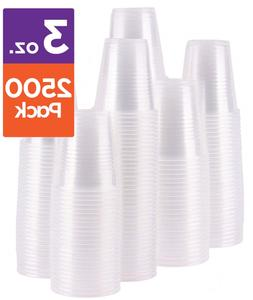 Case of 2,500 – 3 oz. Disposable Clear Plastic Cups, 100 C