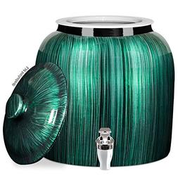 Brio Vertical Stripe Porcelain Ceramic Water Dispenser Crock