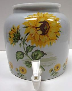 Ceramic Water Crock Dispenser - Sunflower Design