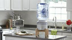 Ceramic Tabletop Water Dispenser Wooden Stand Push Tab Contr