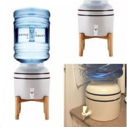 Ceramic Water Dispenser Cooler With Wooden Stand 3-5 Gallon