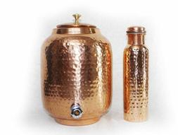 Copper Water Dispenser Storage Pot Matka With 1 Bottle, Serv