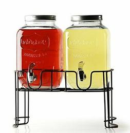 Circleware Double Yorkshire Mason Jar Glass Beverage Drink D