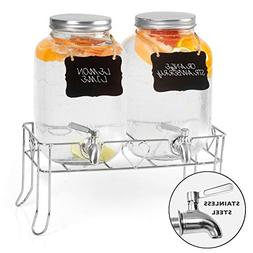 Outdoor Glass Beverage Dispenser 2 Pack with Sturdy Metal Ba
