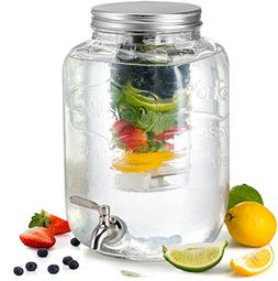 KooK Glass Drink Dispenser with Fruit & Ice Infuser and Stai