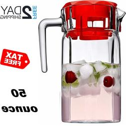 Glass Pitcher With Lid Drink Ice Tea Large Carafe Cold Water