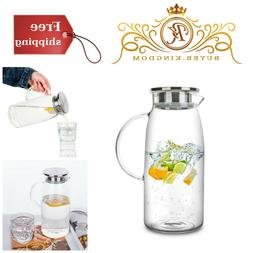 Glass Pitcher with Lid Ice Tea Drink Beverage Carafe Water D