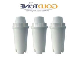 3 GoldTone Charcoal Water Pitcher Filters for BRITA and MAVE