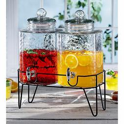 Hamburg Set of 2 Dispensers with Stand, 1.5 Gal Each