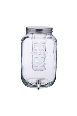 Jar Glass Dispenser of beverages with Infuser water 253.6oz