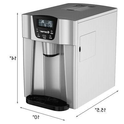 2 In 1 Ice Maker Dispenser 26Lbs/24H Compact Silver