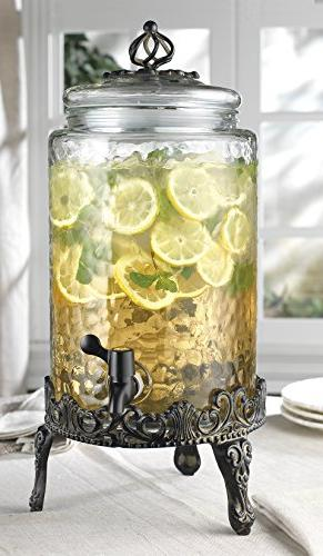 Elegant Home High Quality Hammered Glass Beverage Dispenser