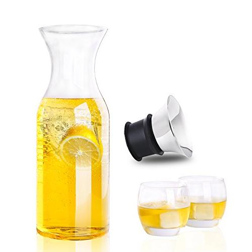 Hiware 35 Drip-free Carafe with Steel Silicone Flip-top - Pitcher Glass Fridge Carafe Ice Tea Maker