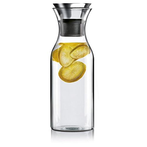 Hiware 35 Oz Glass Drip-free Carafe with Stainless Steel Sil