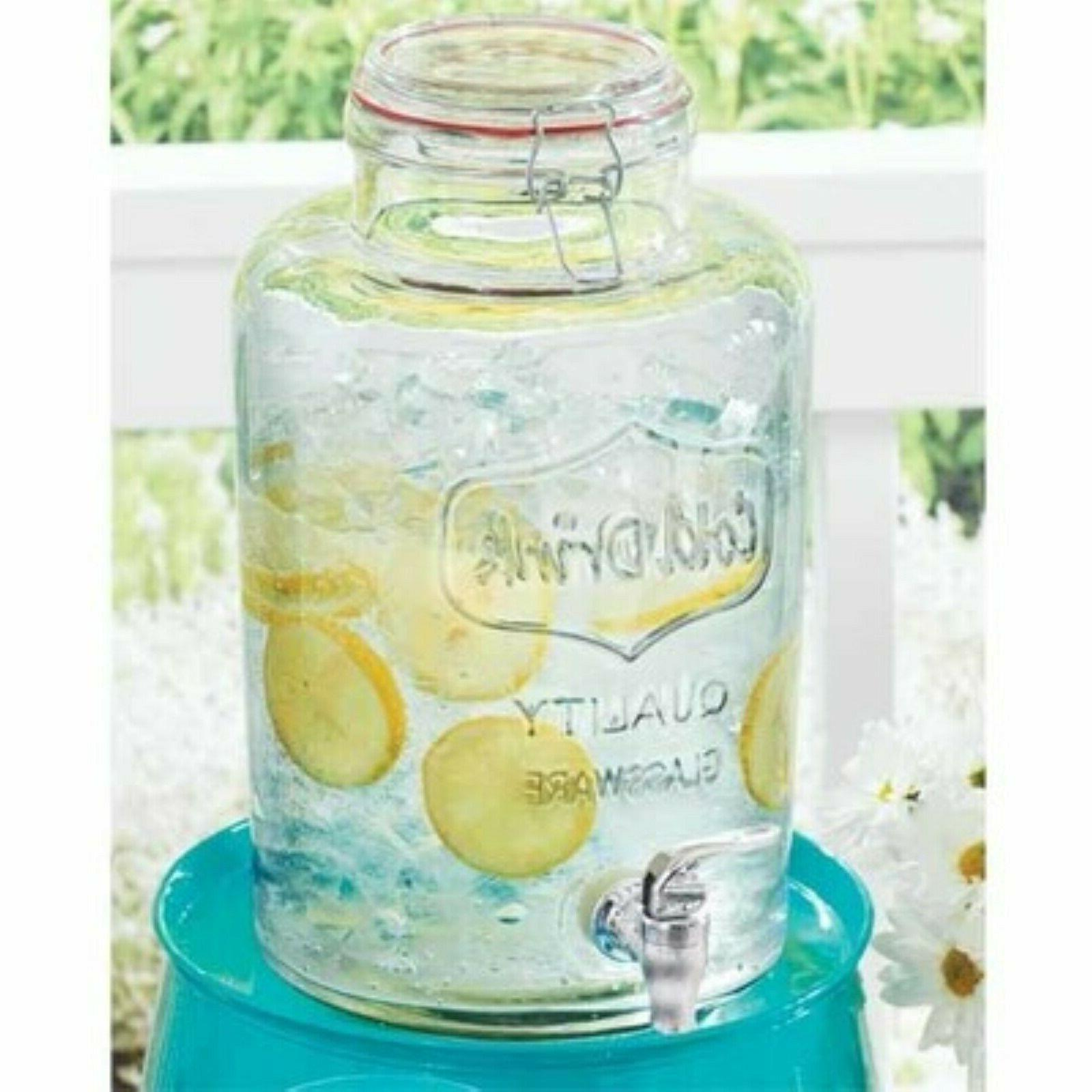 glass beverage drink dispenser 2 gallons water