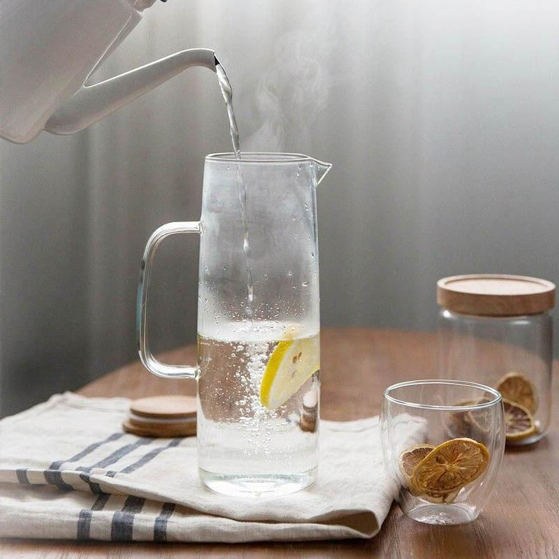 Glass <font><b>Pitcher</b></font> <font><b>Water</b></font> Juice Ice Wine Beverage Pot with Bamboo Lid