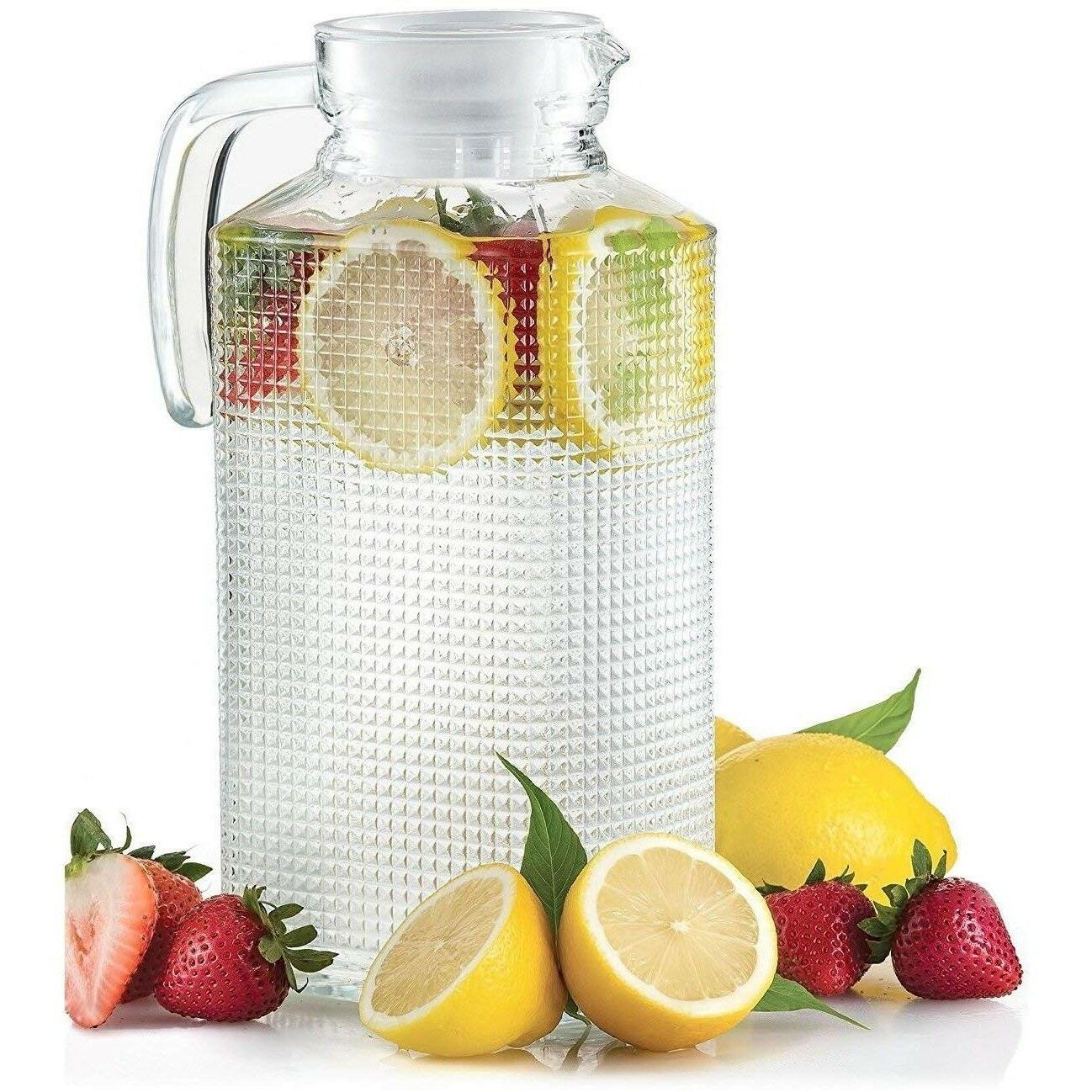 glass pitcher with lid drink ice tea