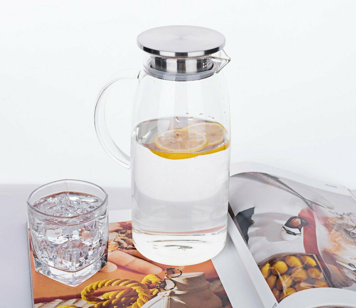 Glass with Ice Carafe Water Dispenser 60 Ounce
