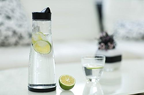 Chefoh Glass Water With Lid Base, Spout Fridge Water Bottle Dispenser, Great Lemonade, Wine