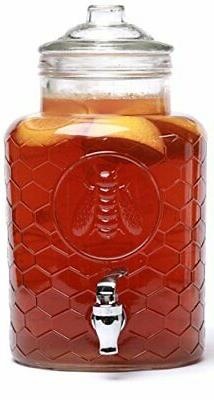 Circleware 67114 Beehive Beverage Dispenser with Glass Lid,
