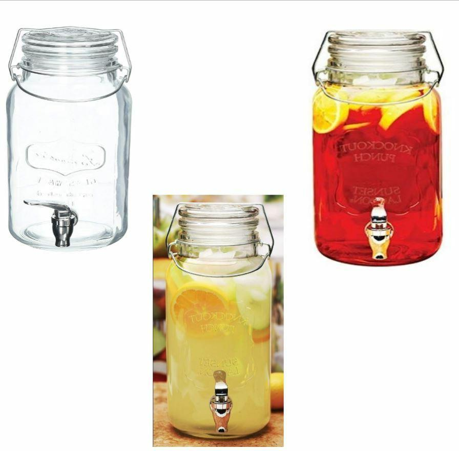 Circleware Knockout Glass Mason Jar Beverage Dispenser with