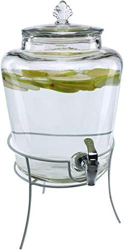 Circleware Market Lane Glass Beverage Dispenser with Metal S