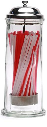 Circleware 66793 Retro Old Fashioned Glass Straw Dispenser H