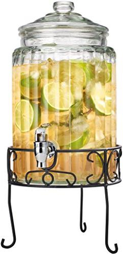 Palais Glassware Strie Beverage Dispenser - Decorative Ribbe
