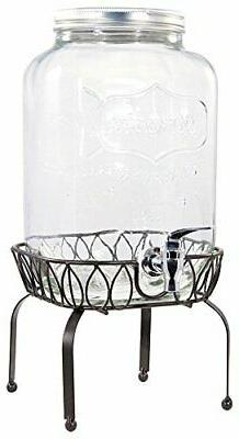 Circleware Yorkshire Mason Jar Beverage Drink Dispenser with