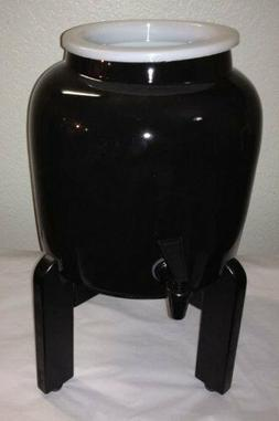 Porcelain Ceramic Water Dispenser Solid Black Countertop + B