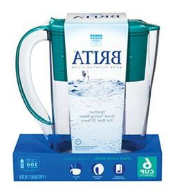 Brita Space Saver Water Filter Pitcher, Turquoise, 6 Cups, 1