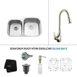 32 x 19 Undermount Kitchen Sink with Faucet and Soap Dispens