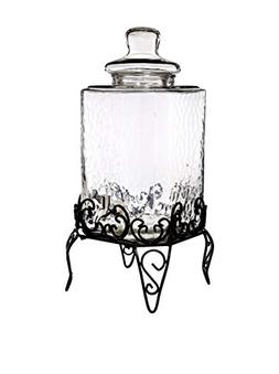 Vintage Hammered Beverage Dispenser With Scroll Style Stand