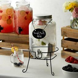 Water Juice Dispenser Beverage Jar W/ Stand Infusion Chamber