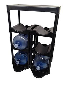5 Gallon Water Bottle Rack Black System Organizer Container