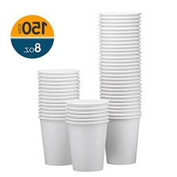 NYHI 150-Pack 8 oz. White Paper Disposable Cups – Hot/Cold